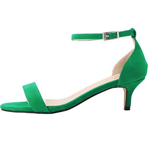 Scarpe Verde col Scarpe Donna Calzature Kitten a Tacco Tacco col WanYang Heel Shoes Punta Scamosciato Scarpe wTqaRpaPZg