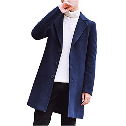 Artificial Wool & Blends Mans Long Jackets 9 Color Options Autumn Winter Coats Men Jacket Size S 5XL Navy Blue 5XL