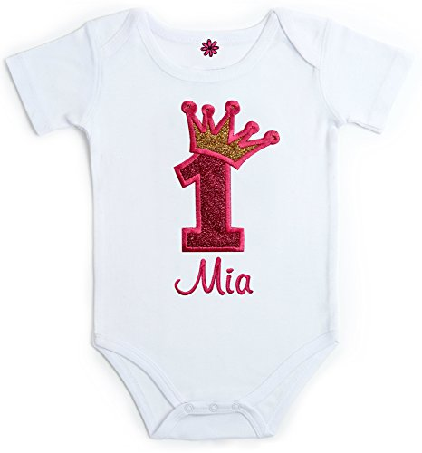 Personalized Birthday Bib (Embroidered Sparkling First Birthday Onesie Bodysuit For Baby - Your Custom Name! (12 Months - Short Sleeve, Pink & Gold))