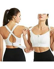 Draadloze, ondersteunende sport-bh's voor dames, Comfortabele gewatteerde trainings-bh met ritssluiting voor gym-yoga hardlopen (S,Wit)