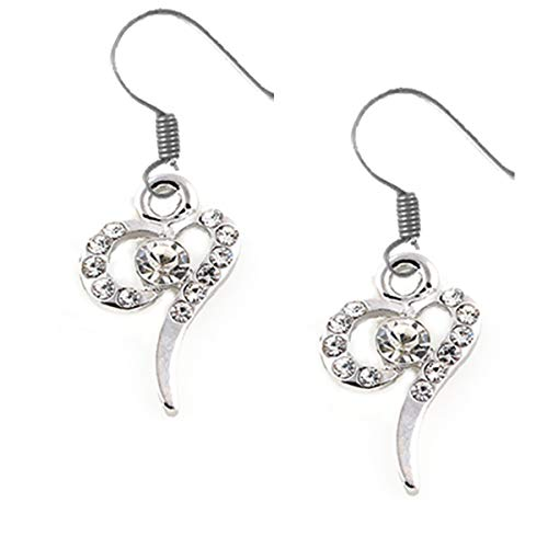Glass Heart Earrings Free Ship - SHIPs TODAY- Rhinestone Earrings, Stylized Heart-FREE Gift Box!