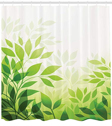 Ambesonne Leaves Decor Collection, Modern Abstract Illustration with Greenery Leaves Outdoors Lover Nature Background, Polyester Fabric Bathroom Shower Curtain Set with Hooks, - 5 Light Laurel Leaf