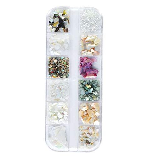 DIY Nail Art Tools Decoration Manicure Kit, Metal Nail Stickers,Silver Shell Stone Set,Flat Semicircle Symphony Pearl Jewelry ()