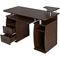 HomCom Home Office / Dorm Computer Desk w/ Elevated Shelf - Walnut