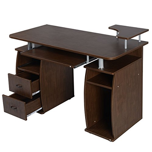 Computer PC Desk Work Station Office Home Shelf Furniture Walnut by toonets