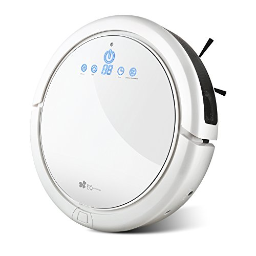 EC Technology Robotic Vacuum Cleaner High Suction Drop-Sensing Technology Smart Scheduling Automatic Floor Cleaning Robot Self Charging for Pet Hair, Dust, Hard Floor, Carpet, White
