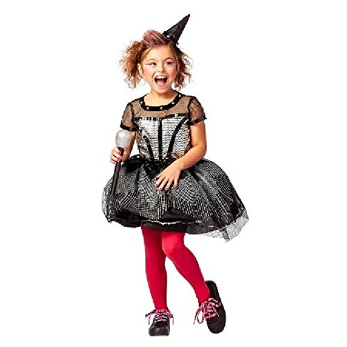 Girls Rock Star Witch 80s Party Pop Star Dress Halloween Costume (Medium 7/8)