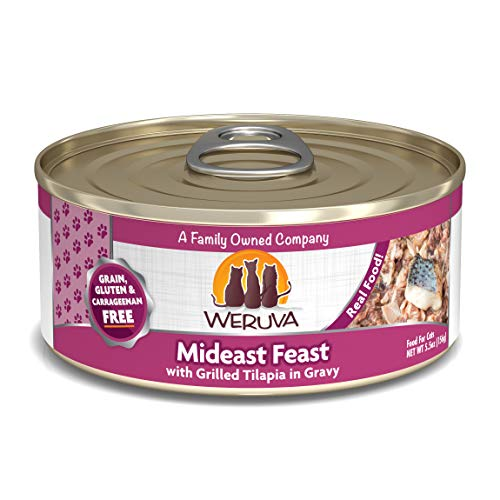 Weruva Classic Cat Food, Mideast Feast With Grilled Tilapia & Whole Meat Tuna In Gravy, 5.5Oz Can (Pack Of 24)