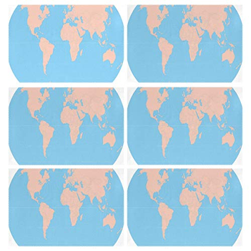 Cocoa trade Heat Resistant Placemats for Kitchen Table Mats Dining Room,World MAPS Printable Washable Insulation Non Slip Placemat 12x18 inch(6 pcs) -