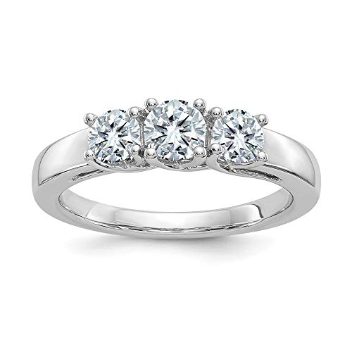 - 14k White Gold 2.00ct. 3 Stone Colorless Moissanite Band Ring Size 7.00 Light Db Dbxx ?stone Fine Jewelry Gifts For Women For Her