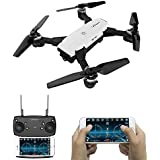 LE-IDEA 2MP Selfie Drones 2.4G Foldable RC Quadcopter Wifi FPV Drone Altitude Hold 3D Flips Rolls Gyro RTF RC Drones Best Gift (white)