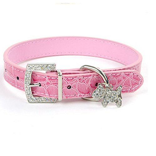 1 Pack Adjustable PU Leather Dog Collar Small Pet Necklaces With Crystal Rhinestone Skull Soft Elastic Bow Bell Tag Good Popular Wide Reflective Safety Breakaway Training Camo Kitten Collars, Type-02