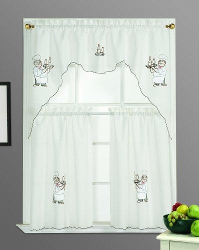 Dainty Home Chef Kitchen Curtain Set, Beige