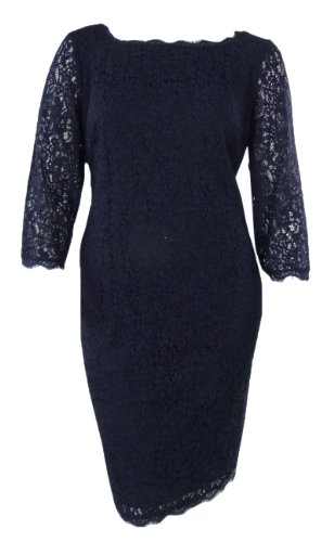 Adrianna Papell Women's 3/4 Sleeve Lace Dress, Crushed Berry, 10