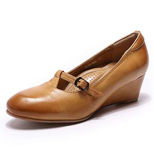 - Mona flying Women's Leather Round Toe Wedge Heel Pumps Mary Jane Shoes for Womens Ladies