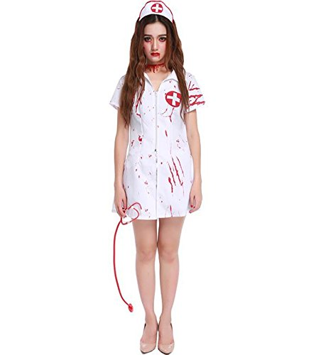 Halloween Scary Nurse Costume Women Deluxe Bloody Ghost Vampire Cosplay Uniform Dress Up -