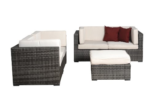 (Atlantic Nice Grey Wicker Seating Set with Off-White Cushions, 5-Piece )