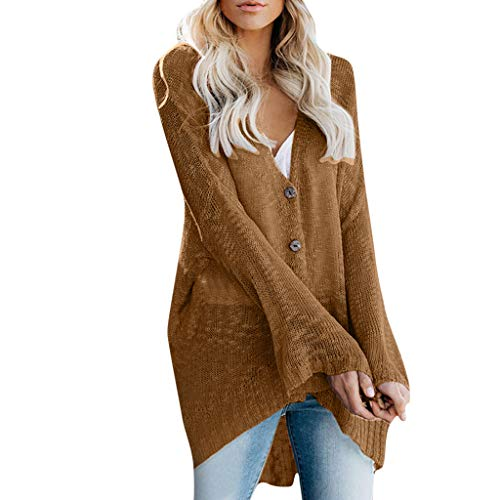RAINED Womens Casual Loose Cardigan Solid Color Button Autumn Winter Thin Tops Ladies Vintage Fashion Blouse ()