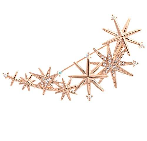 Sojewe Women Fashion Rhinestone Rose Gold Plated Stars Brooch Pin for Mom Christmas Gift