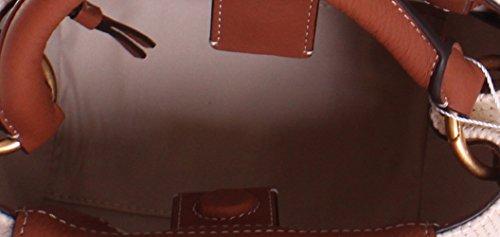 350b1342931f Tory Burch Half Moon Straw Leather Crossbody Handbag in Natural Classic Tan