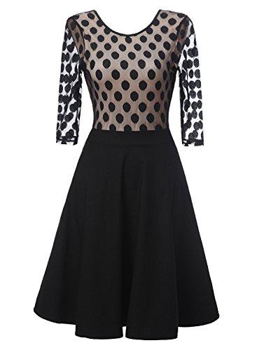 DIANSHANG DREAM Women's Classical A-line Black Cocktail Wedding Party Dress (Period Dress)