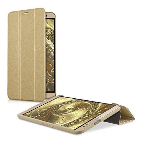 kwmobile Smart Cover Case für Huawei MediaPad X2 7.0 mit Ständer - Schmale Ultra Slim Hülle aus Kunstleder in Gold