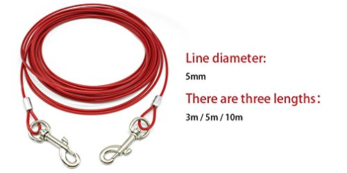 LOVELY Dog Tie Out Down Cable Lead Leash Extention Chew Proof Wire For Small Medium Large Dogs Blue 10m by LOVELY (Image #6)