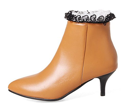 Pointues Aisun Bottines Femme Dentelle Jaune Mode Cheville I1Caqn1w