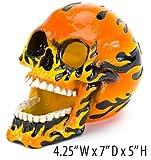 Pen-Plax RR1453 Flaming Skull Aquarium Ornament, Large