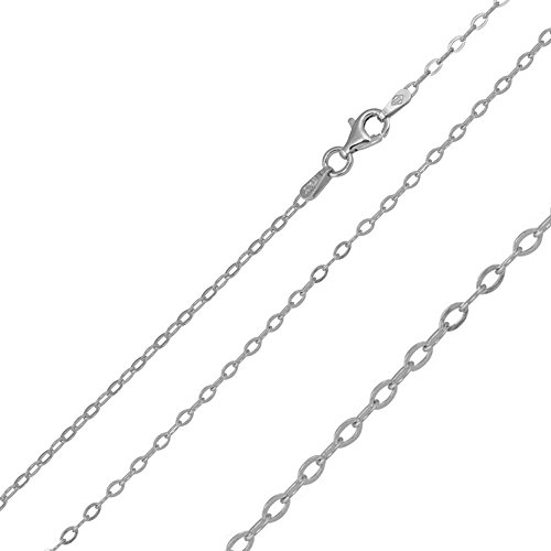 1.9mm Sterling Silver Italian Necklace Rhodium Plated Oval Flat Link Chain (16, 18, 20 Inch), 18 (Plated Oval Link Chain)