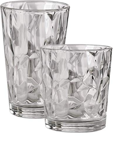 Oz Stein Plastic 14 (Circleware 40159 Huge Set of 16 Drinking Glasses & Whiskey Cups, Home & Kitchen Party Entertainment Glassware for Water, Beer, Juice, Ice Tea, Bar Beverage Gifts, 8-15.7 oz & 8-12.5 oz, Cabrini 16pc)