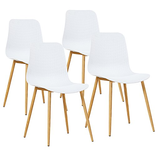 GreenForest Dining Chairs Mid Century Kitchen Room PP Leisure Side Chair Set of 4, White Eames Plastic Side Chair