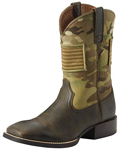 Ariat Men's Sport Patriot Camo Western Boot Wide Square Toe Brown 11 D (Ariat Leather Clogs)
