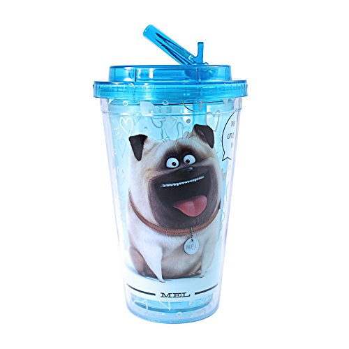 Silver Buffalo PT1384 Universal The Secret Life of Pets Heart Print Mel Plastic Cold Cup with Flip Straw, ()