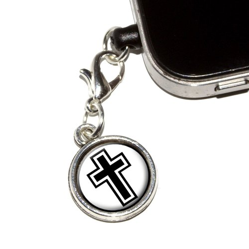Graphics and More Cross - Christian Religious Anti-Dust Plug Universal Fit 3.5mm Earphone Headset Jack Charm for Mobile Phones - 1 Pack - Non-Retail Packaging - Antiqued Silver (Antiqued Mini Charm Cross)
