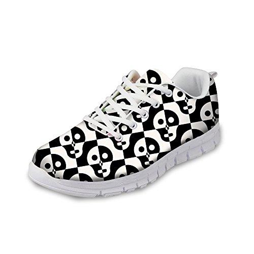 Voor U Ontwerpen Coole Schedelprint Dames Ademend Lichtgewicht Veterschoenen Sneakers Voor Dames Comfortabele Loopschoenen Zwart A