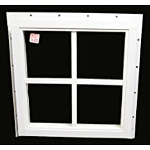 """Square Shed Window 16"""" X 16"""" White J-channel, Playhouse Window"""