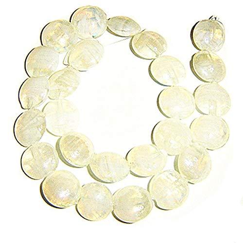 Calvas 15mm disc Shape Murano Glass Beads,26 Pieces per lot, White/Clear Color with 1.5mm Hole for Jewelry use,Promotional Price! - (Color: Clear as Photo)