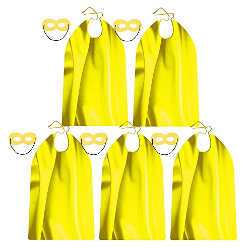 Yellow Superhero Capes and Masks for Teenager and Adults - Bulk 5 Sets for Men & Women - Dress Up Superhero Party Costumes for Team -