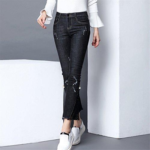 Femmes Pantacourt Slim Haute Noir Stretch Dchir Skinny Flare Oudan Pantalons Dentelle avec Jeans Taille vqwdnRa