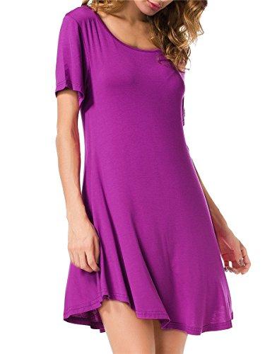 (JollieLovin Women's Tunic Top Casual Short Sleeve Swing Loose T-Shirt Dress (Fushia, M))