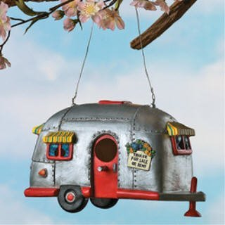 Camper Birdhouse Trailer Bird House Airstream style Rv Home Decor Yard Garden Porch Patio Birdfeeder Garden, Lawn, Supply, ()