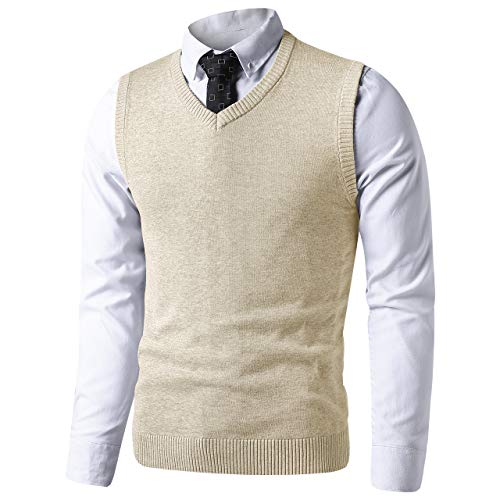 LTIFONE Mens Slim Fit V Neck Sweater Vest Basic Plain Short Sleeve Sweater Pullover Sleeveless Sweaters with Ribbing Edge(Ivory Cream,S)