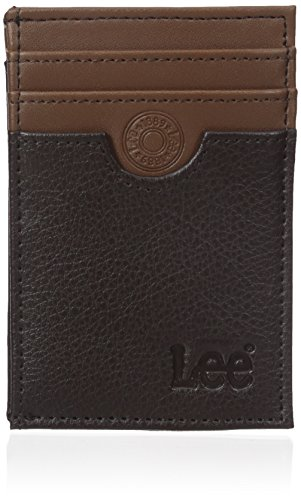 Lee Men's Pebble Textured Leather RFID Blocking Front Pocket Wallet, Brown/Tan, One Size -