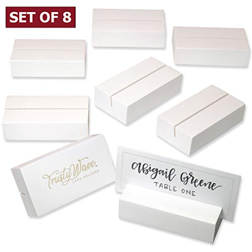 - Place Card Holders, Table Numbers / Sign Holder for Wedding, Christmas / Greeting Card Display Stands | Solid Wood Set of 8 - For Name Tags, Pictures, Reserved Signs, Food Labels, Postcards, Menus Etc