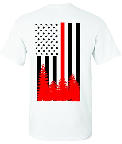 - Patriot Apparel Wildland Wild Fire Thin Red Line Firefighter T-Shirt Hotshots Design (X-Large, White)