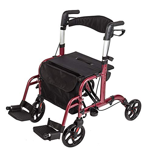 ELENKER Medical Transport Chair Foldable 4 Wheels Rollator Walker with Detachable Footrests