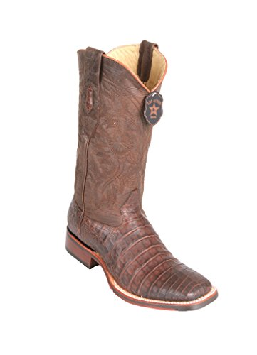 (Men's Wide Square Toe Brown Greasy Finish Genuine Leather Caiman Belly Skin Western)