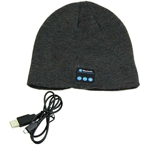 XENO-Bluetooth headset hat wireless fashion warm smart earphone Mic headphone(dark - In Malls Michigan City