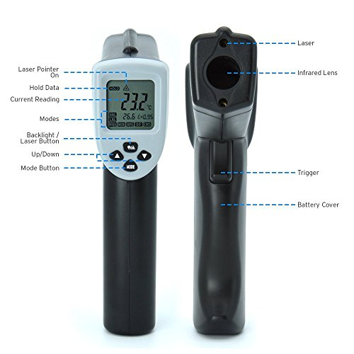 Etekcity Lasergrip 630 Dual Laser Digital Infrared Thermometer -58℉~1076℉ (-50℃ to 580℃) Non-contact Temperature Gun with Adjustable Emissivity & MAX/MIN/AVG Display by Etekcity (Image #1)